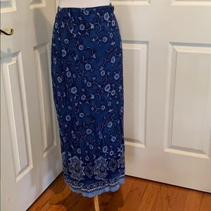 Blue rayon floral skirt with crossover waistline